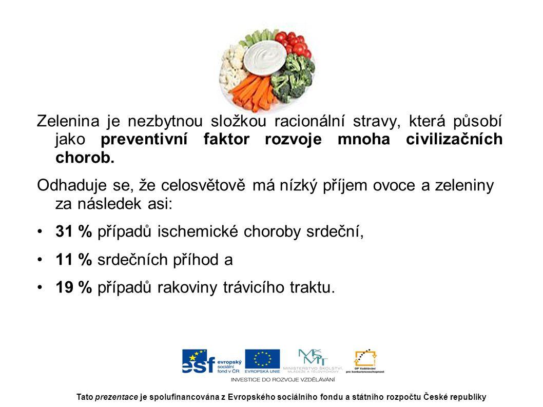 Zelenina je nezbytnou složkou racionální stravy, která působí jako preventivní faktor rozvoje mnoha civilizačních chorob. Odhaduje se, že celosvětově