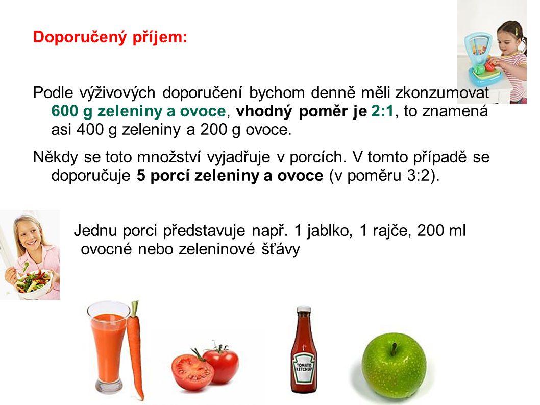 Doporučený příjem: Podle výživových doporučení bychom denně měli zkonzumovat 600 g zeleniny a ovoce, vhodný poměr je 2:1, to znamená asi 400 g zelenin