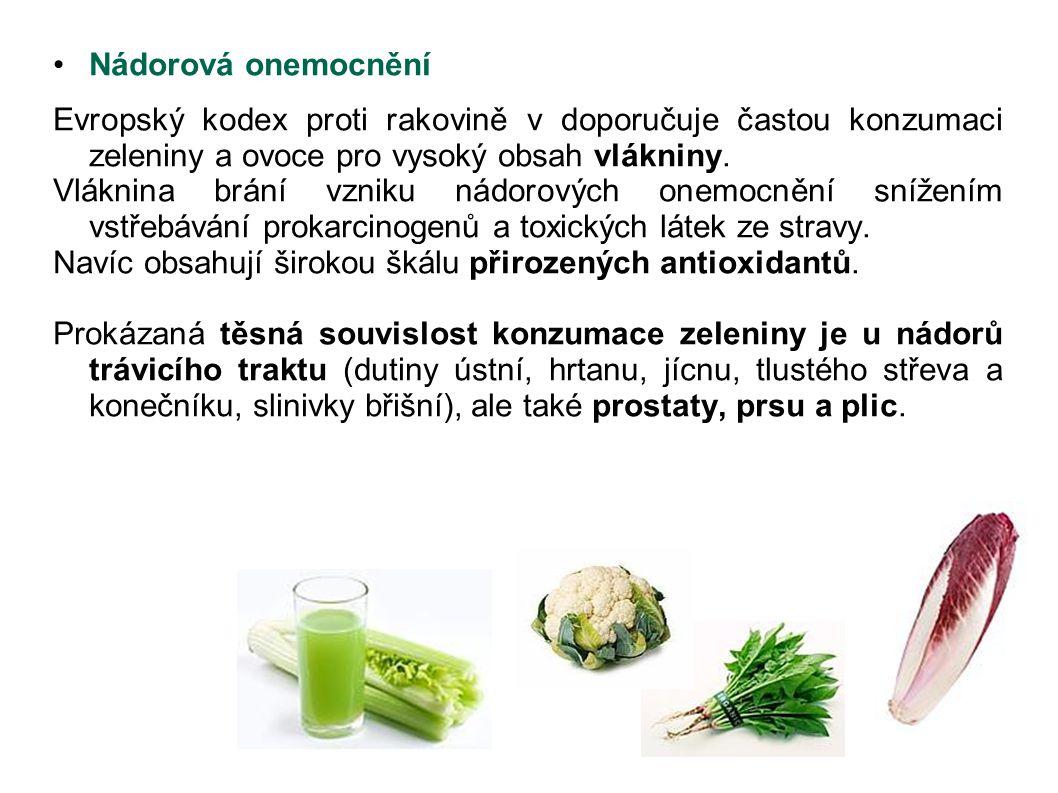 Nádorová onemocnění Evropský kodex proti rakovině v doporučuje častou konzumaci zeleniny a ovoce pro vysoký obsah vlákniny. Vláknina brání vzniku nádo
