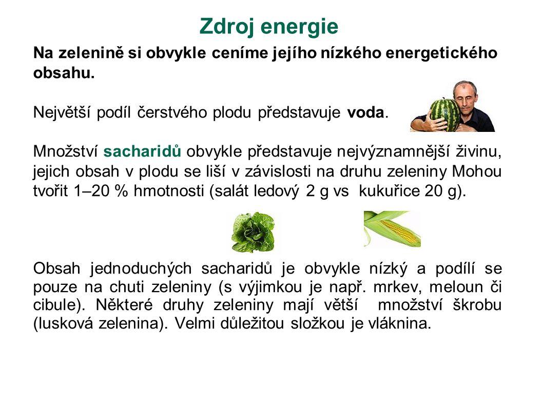 Zdroj energie Na zelenině si obvykle ceníme jejího nízkého energetického obsahu. Největší podíl čerstvého plodu představuje voda. Množství sacharidů o