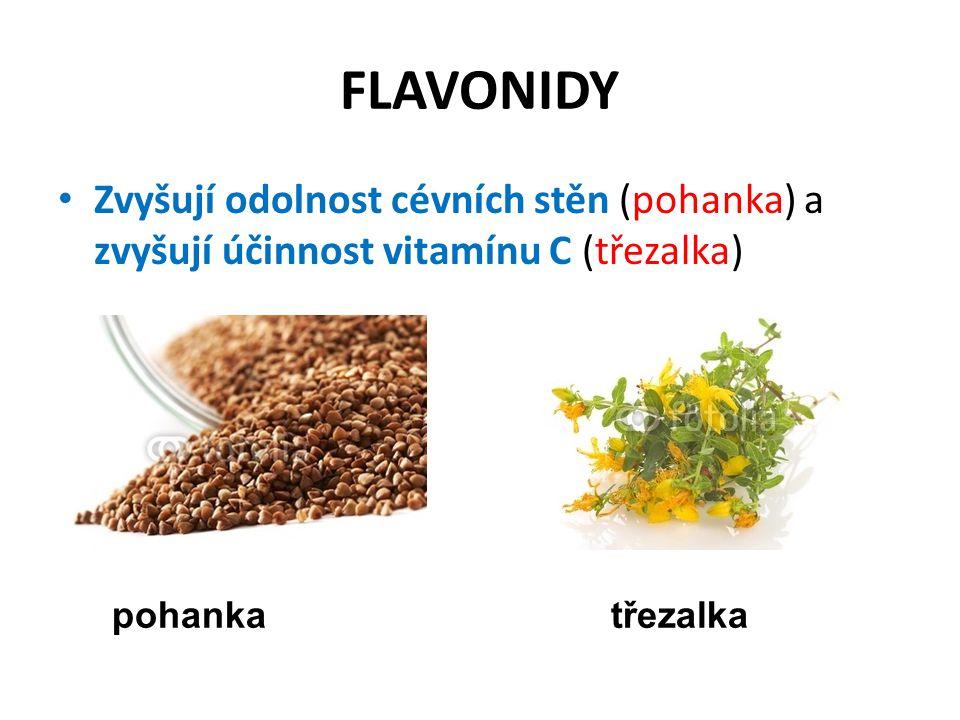 FLAVONIDY Zvyšují odolnost cévních stěn (pohanka) a zvyšují účinnost vitamínu C (třezalka) pohankatřezalka