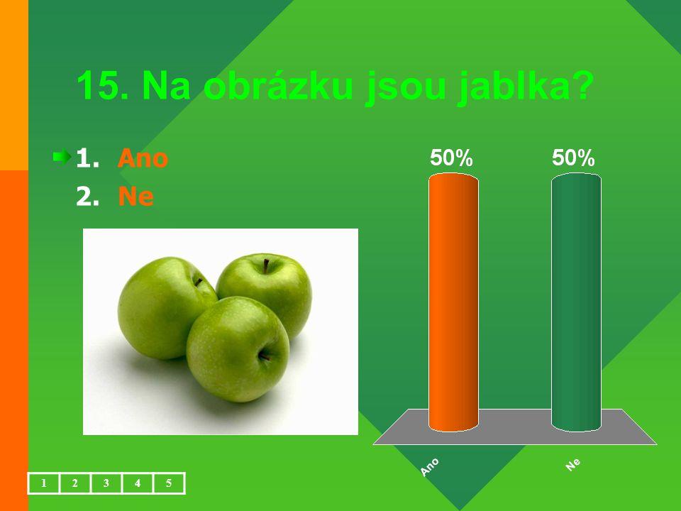 15. Na obrázku jsou jablka? 1.Ano 2.Ne 12345