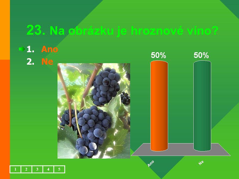 23. Na obrázku je hroznové víno? 1.Ano 2.Ne 12345