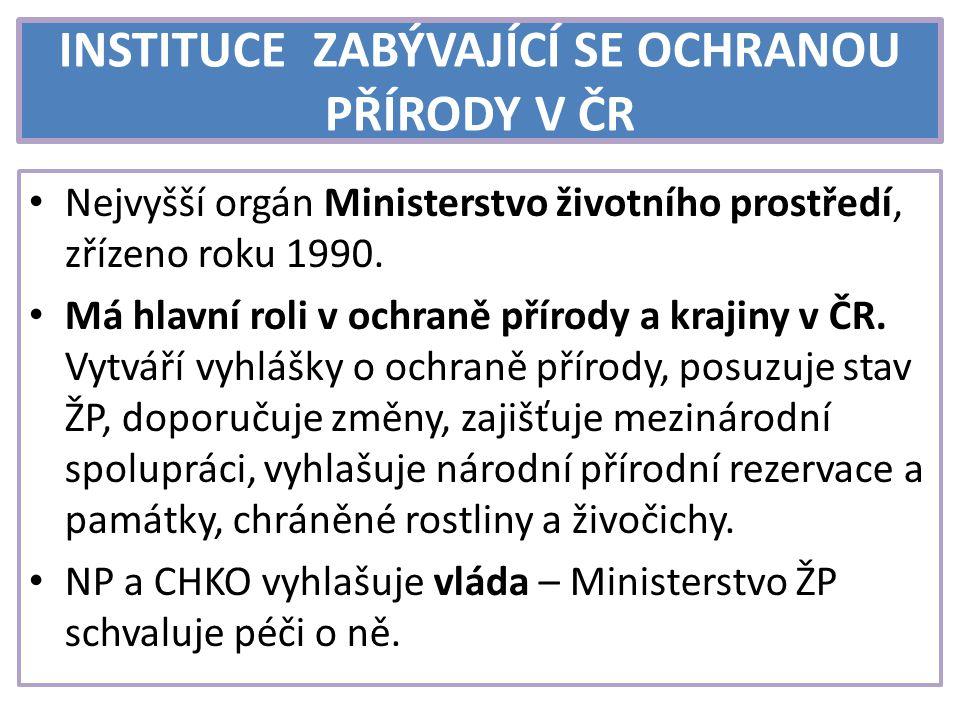 INSTITUCE ZABÝVAJÍCÍ SE OCHRANOU PŘÍRODY V ČR Česká inspekce ŽP – podřízena Ministerstvu ŽP; kontroluje dodržování předpisů týkajících se ochrany přírody, hospodaření s odpady.