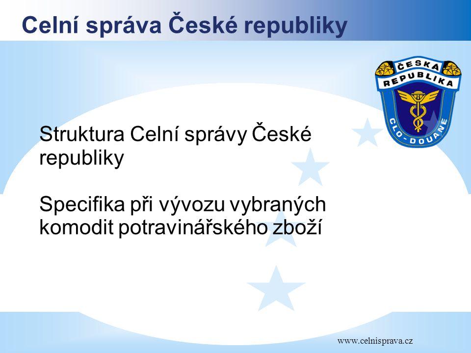 Celní správa České republiky www.celnisprava.cz Struktura Celní správy České republiky Specifika při vývozu vybraných komodit potravinářského zboží