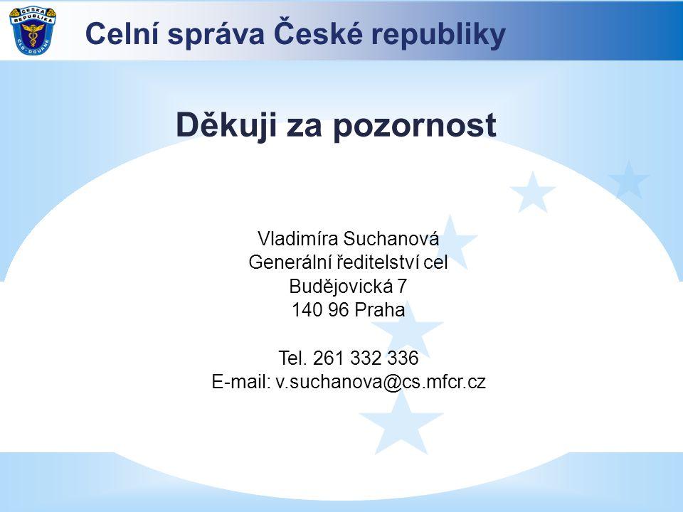 Děkuji za pozornost Vladimíra Suchanová Generální ředitelství cel Budějovická 7 140 96 Praha Tel. 261 332 336 E-mail: v.suchanova@cs.mfcr.cz