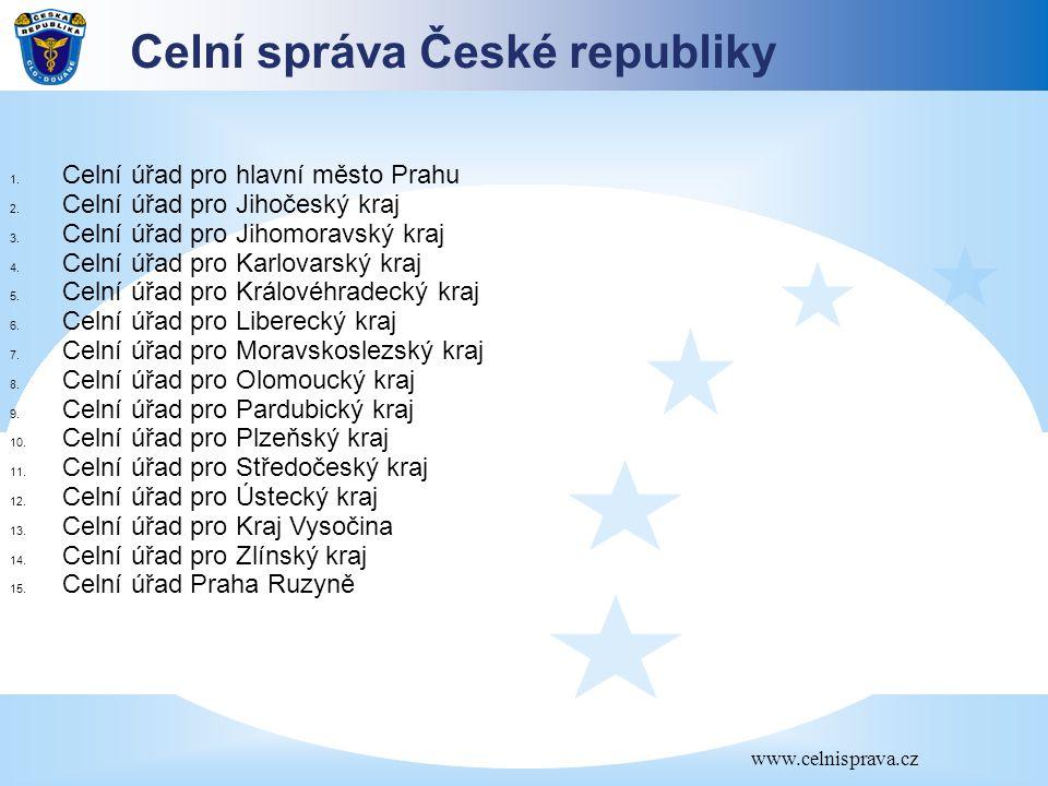 Celní správa České republiky www.celnisprava.cz 1. Celní úřad pro hlavní město Prahu 2. Celní úřad pro Jihočeský kraj 3. Celní úřad pro Jihomoravský k