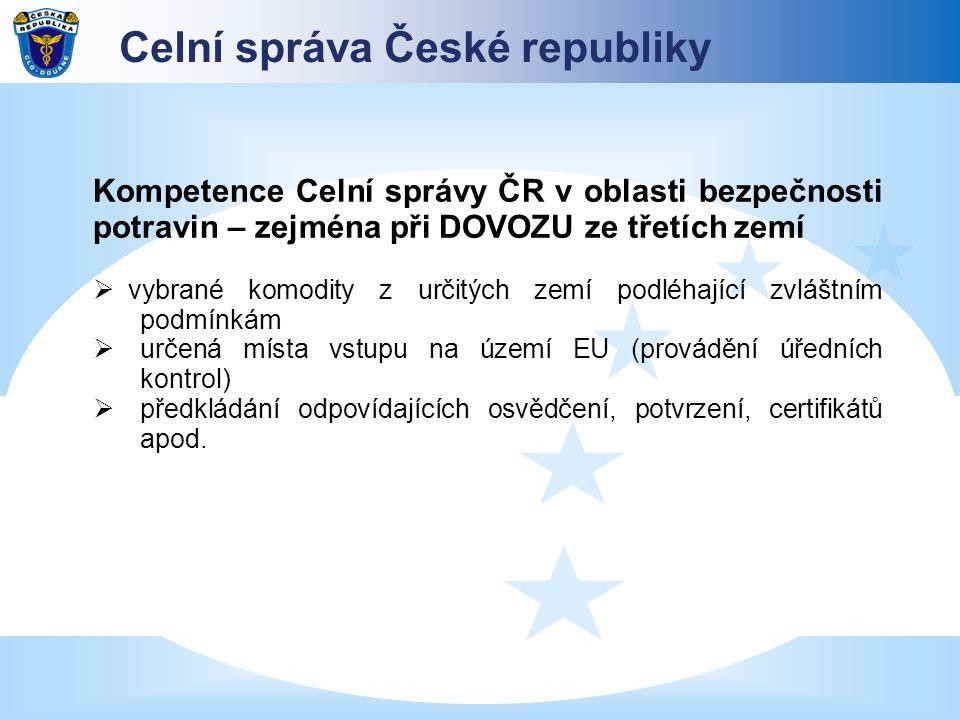 Kompetence Celní správy ČR v oblasti bezpečnosti potravin – zejména při DOVOZU ze třetích zemí  vybrané komodity z určitých zemí podléhající zvláštní
