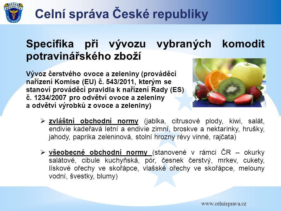 Celní správa České republiky www.celnisprava.cz Specifika při vývozu vybraných komodit potravinářského zboží Vývoz čerstvého ovoce a zeleniny (provádě