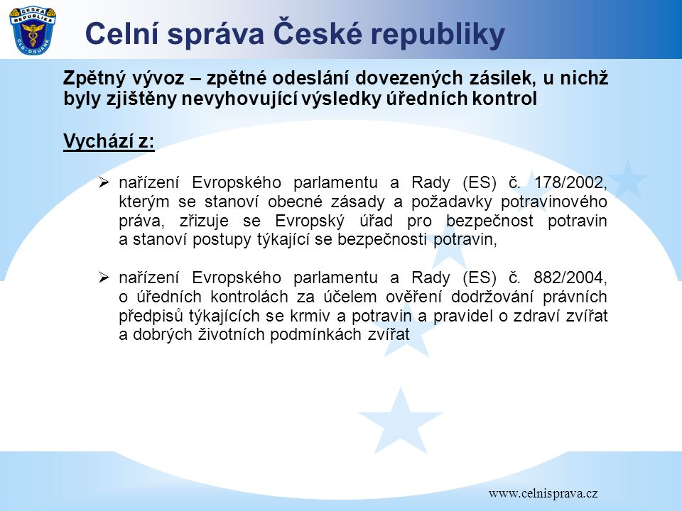 Celní správa České republiky www.celnisprava.cz Zpětný vývoz – zpětné odeslání dovezených zásilek, u nichž byly zjištěny nevyhovující výsledky úředníc