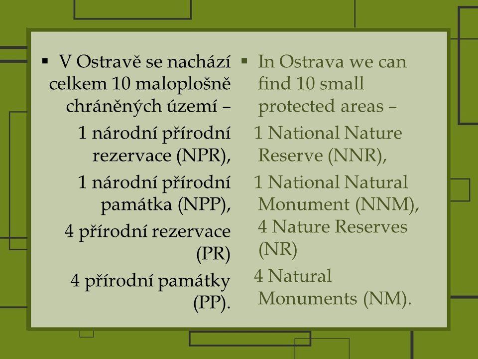  V Ostravě se nachází celkem 10 maloplošně chráněných území – 1 národní přírodní rezervace (NPR), 1 národní přírodní památka (NPP), 4 přírodní rezervace (PR) 4 přírodní památky (PP).