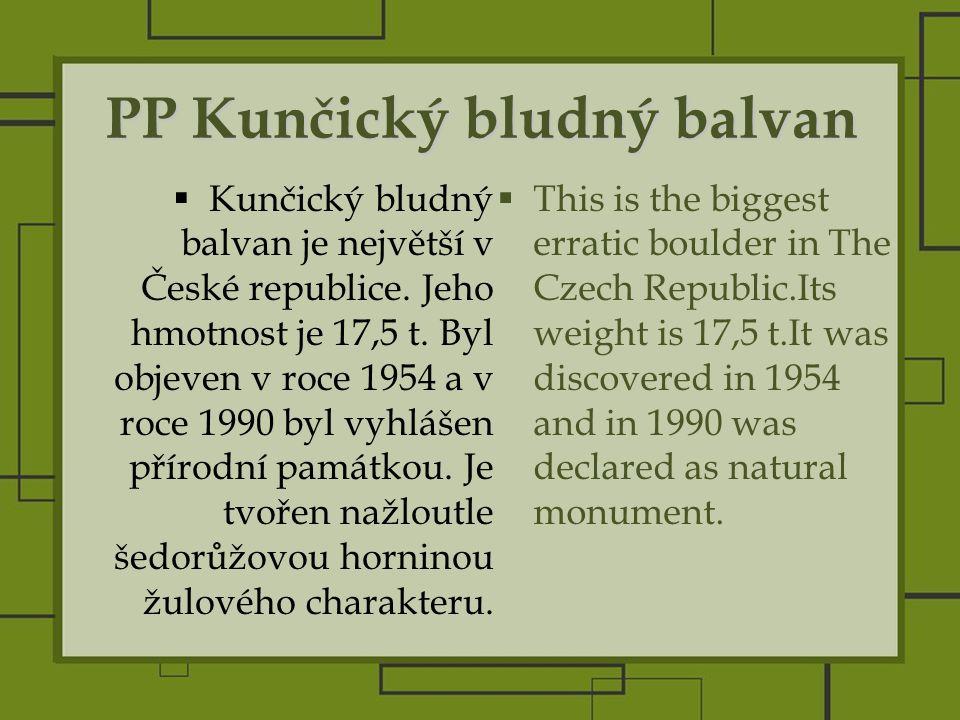PP Kunčický bludný balvan  Kunčický bludný balvan je největší v České republice.