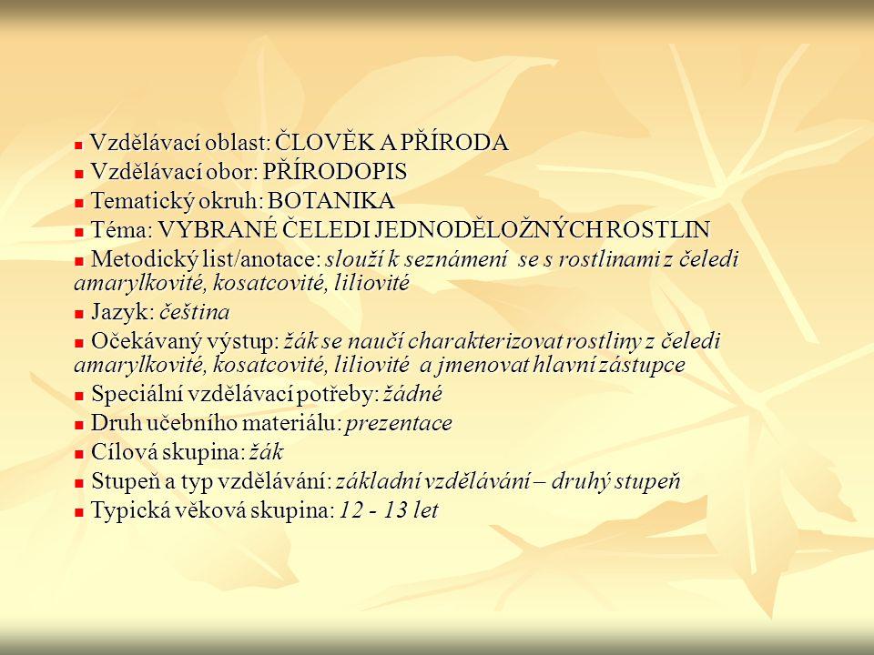 Znaky jednoděložných rostlin Semeno má 1 dělohu Semeno má 1 dělohu Kořeny svazčité Kořeny svazčité Cévní svazky ve stonku neuspořádané Cévní svazky ve stonku neuspořádané Květy trojčetné Květy trojčetné Květní obaly nerozlišené – okvětí Květní obaly nerozlišené – okvětí Žilnatina listů souběžná Žilnatina listů souběžná