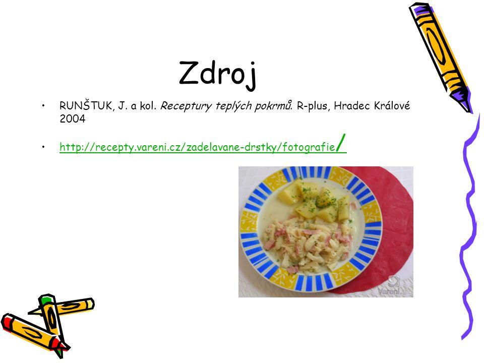 Zdroj RUNŠTUK, J. a kol. Receptury teplých pokrmů. R-plus, Hradec Králové 2004 http://recepty.vareni.cz/zadelavane-drstky/fotografie /http://recepty.v
