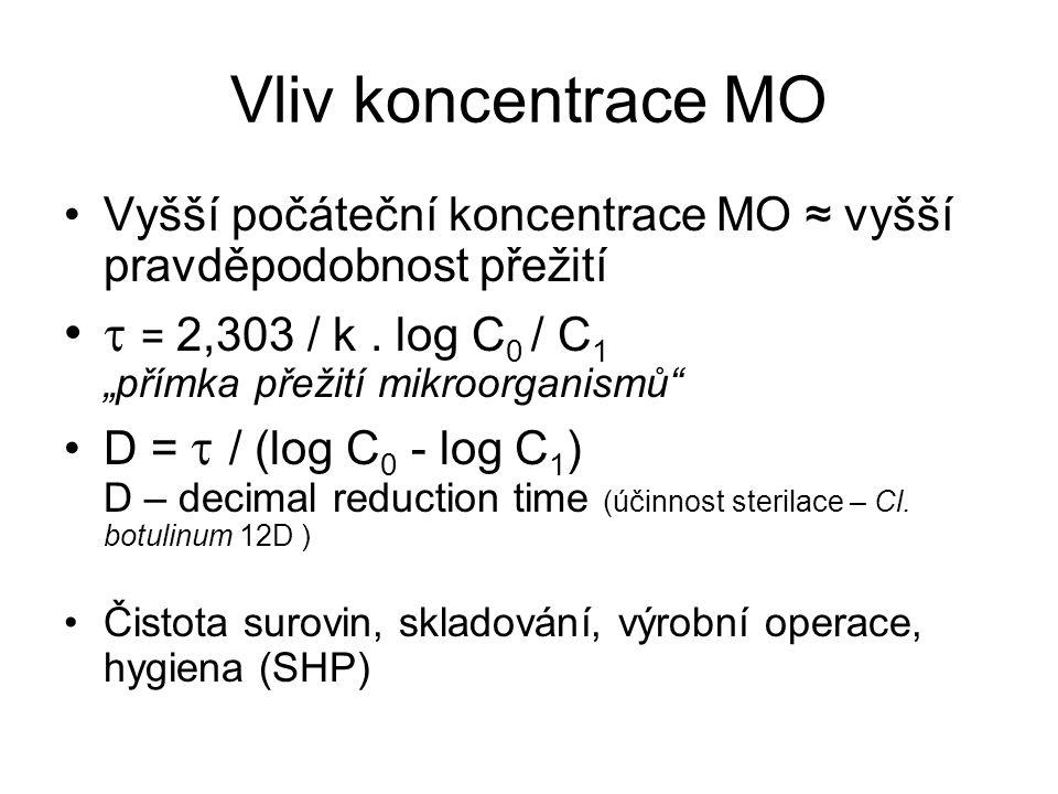 """Vliv koncentrace MO Vyšší počáteční koncentrace MO ≈ vyšší pravděpodobnost přežití  = 2,303 / k. log C 0 / C 1 """"přímka přežití mikroorganismů"""" D = """