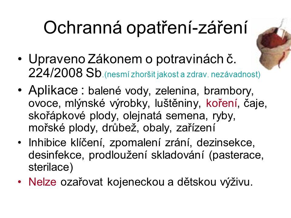 Ochranná opatření-záření Upraveno Zákonem o potravinách č. 224/2008 Sb.(nesmí zhoršit jakost a zdrav. nezávadnost) Aplikace : balené vody, zelenina, b