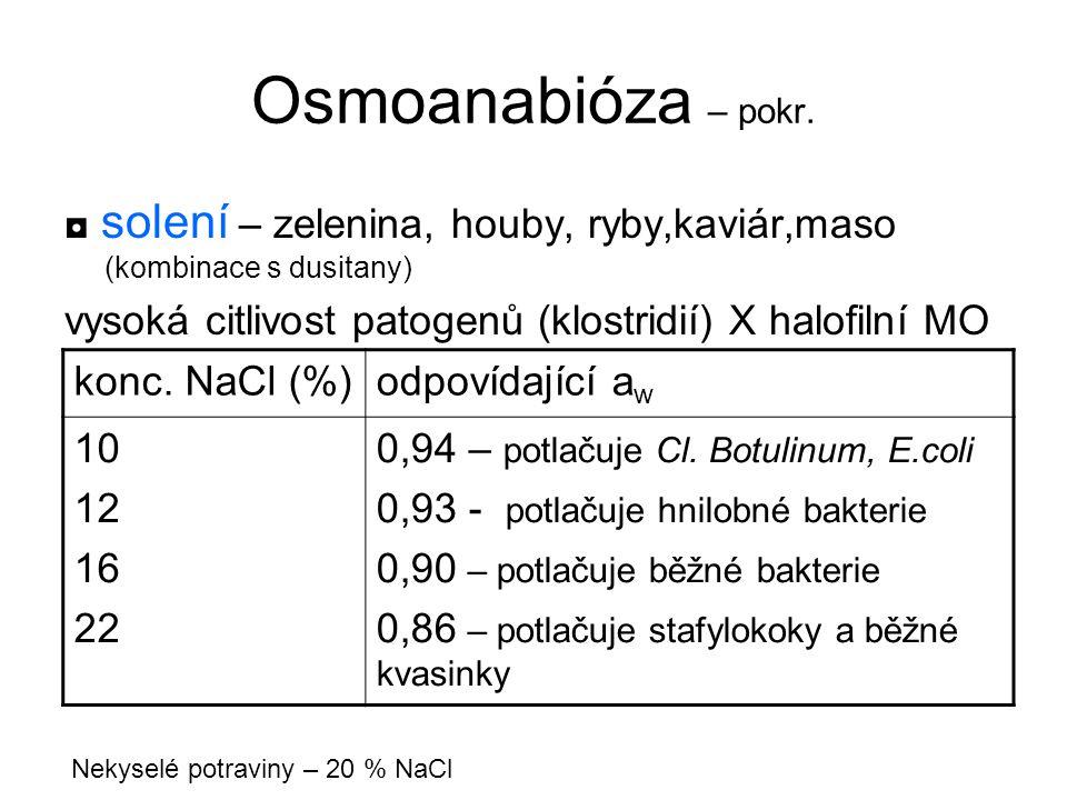 Osmoanabióza – pokr. ◘ solení – zelenina, houby, ryby,kaviár,maso (kombinace s dusitany) vysoká citlivost patogenů (klostridií) X halofilní MO konc. N