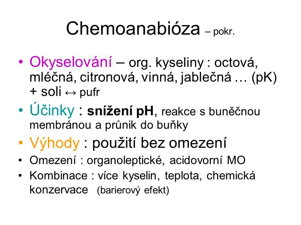 Chemoanabióza – pokr. Okyselování – org. kyseliny : octová, mléčná, citronová, vinná, jablečná … (pK) + soli ↔ pufr Účinky : snížení pH, reakce s buně