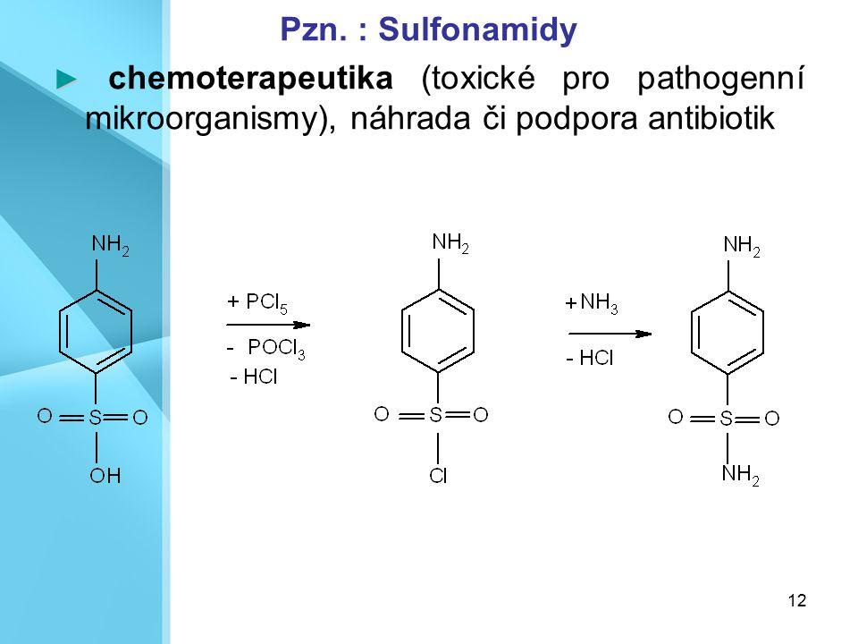12 Pzn. : Sulfonamidy ► ► chemoterapeutika (toxické pro pathogenní mikroorganismy), náhrada či podpora antibiotik