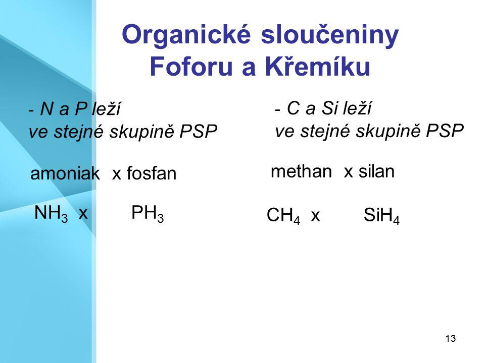 13 Organické sloučeniny Foforu a Křemíku - N a P leží ve stejné skupině PSP - C a Si leží ve stejné skupině PSP amoniak x fosfan NH 3 x PH 3 methan x