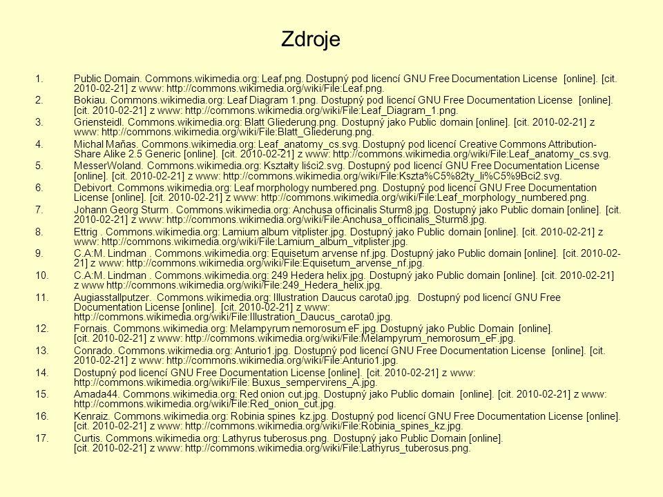 Zdroje 1.Public Domain. Commons.wikimedia.org: Leaf.png. Dostupný pod licencí GNU Free Documentation License [online]. [cit. 2010-02-21] z www: http:/