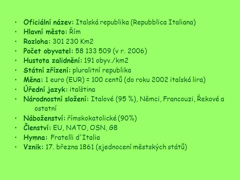 Oficiální název: Italská republika (Repubblica Italiana) Hlavní město: Řím Rozloha: 301 230 Km2 Počet obyvatel: 58 133 509 (v r.