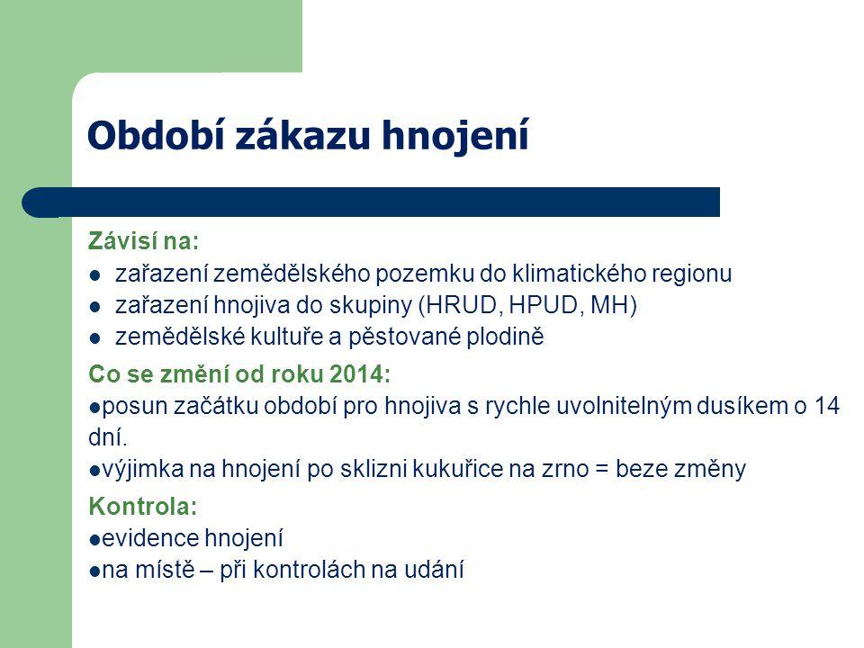 Období zákazu hnojení Závisí na: zařazení zemědělského pozemku do klimatického regionu zařazení hnojiva do skupiny (HRUD, HPUD, MH) zemědělské kultuře