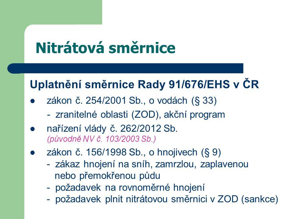 Nitrátová směrnice Uplatnění směrnice Rady 91/676/EHS v ČR zákon č. 254/2001 Sb., o vodách (§ 33) - zranitelné oblasti (ZOD), akční program nařízení v