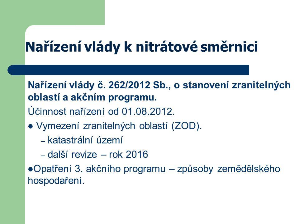 Nařízení vlády k nitrátové směrnici Nařízení vlády č. 262/2012 Sb., o stanovení zranitelných oblastí a akčním programu. Účinnost nařízení od 01.08.201