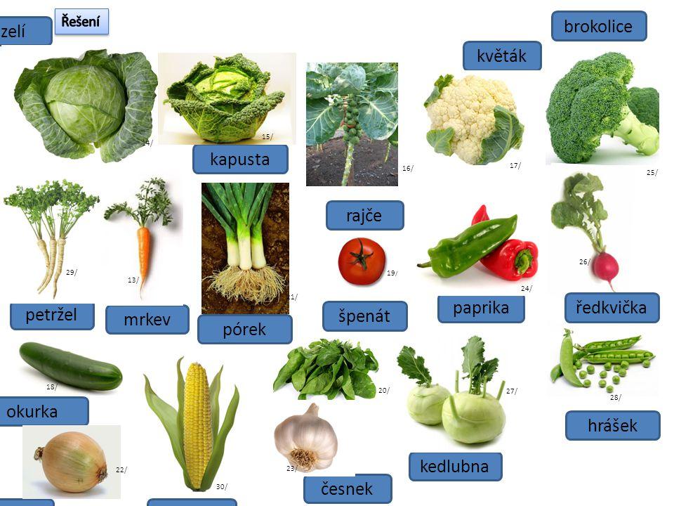 Zeleninu můžeme rozdělit do těchto skupin: kořenoválistová plodová cibulová mrkev petržel česnek kapusta zelí cibule rajče okurka