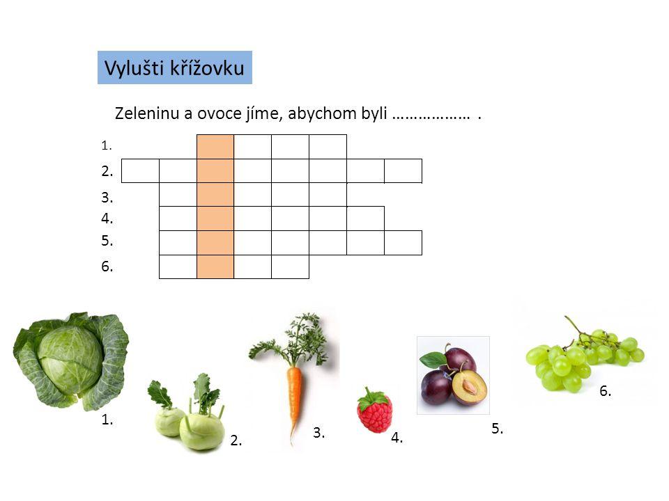 Vylušti křížovku Zeleninu a ovoce jíme, abychom byli ………………. 1. 2. 3. 4. 5. 6. 1. 2. 3. 4. 5. 6.