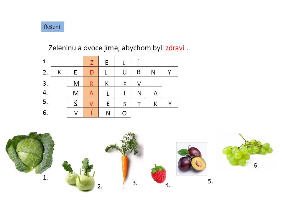 Řešení Zeleninu a ovoce jíme, abychom byli zdraví. 1. 2. 3. 4. 5. 6. 1. 2. 3. 4. 5. 6. Z E LÍ K E D L U B NY M R K E V MA L I N A Š V E ST KY VÍ N O Z