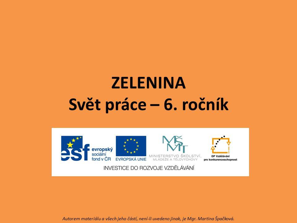 ZELENINA Svět práce – 6. ročník Autorem materiálu a všech jeho částí, není-li uvedeno jinak, je Mgr. Martina Špačková.