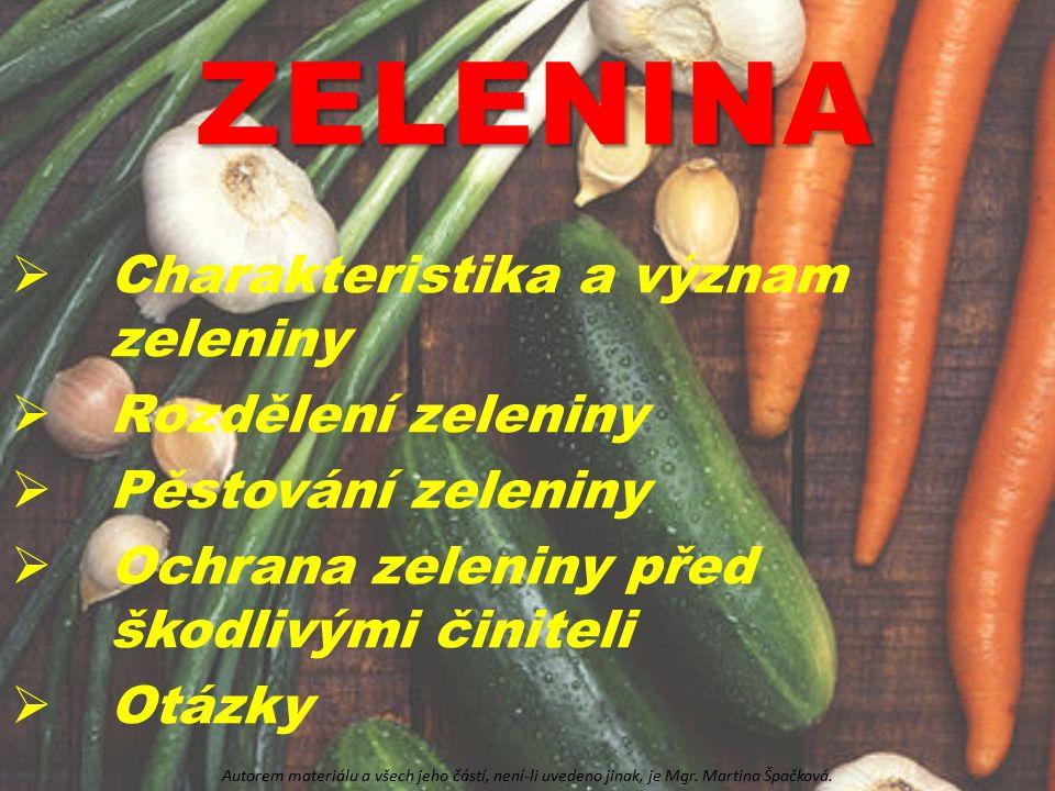 ZELENINA  Charakteristika a význam zeleniny  Rozdělení zeleniny  Pěstování zeleniny  Ochrana zeleniny před škodlivými činiteli  Otázky Autorem ma
