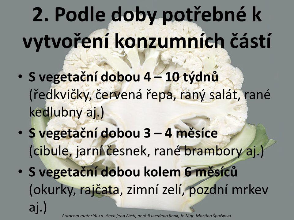 2. Podle doby potřebné k vytvoření konzumních částí S vegetační dobou 4 – 10 týdnů (ředkvičky, červená řepa, raný salát, rané kedlubny aj.) S vegetačn
