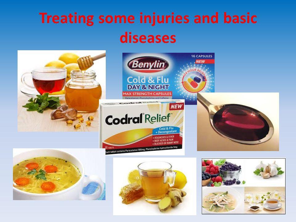 SYMPTOMSTREATMENTPREVENTION COLD kýchání, kašel, ucpaný nos, rýma hodně odpočinku, pobyt uvnitř, vitamín C, cibule, česnek, horký čaj s citronem, zázvorem, kuřecí vývar, aspirin, nosní kapky× no antibiotics dostatek spánku, bylinné čaje, posilování imunity, dobrá hygiena, pobyt na čerstvém vzduchu FLU teplota, zimnice bolest hlavy, kloubů, svalů, očí, schvácenost, suchý kašel, bolest a pálení v krku, nechutenství klid na lůžku, pocení, podobné jako u nachlazení – česnek, med, zázvor, křen jako u nachlazení, očkování, otužování,podobné omezit kontakt s nemocným, čerstvé ovoce, zelenina, sport cvičení, dobra hygiena SUNSTROKE bolest hlavy, závratě, zvracení, spálení od slunce chladné obvazy,dostatek kapalin, léky proti bolesti pokrývka hlavy, chladit hlavu, hodně pít, sluneční ochranný krém Treating some injuries and basic diseases
