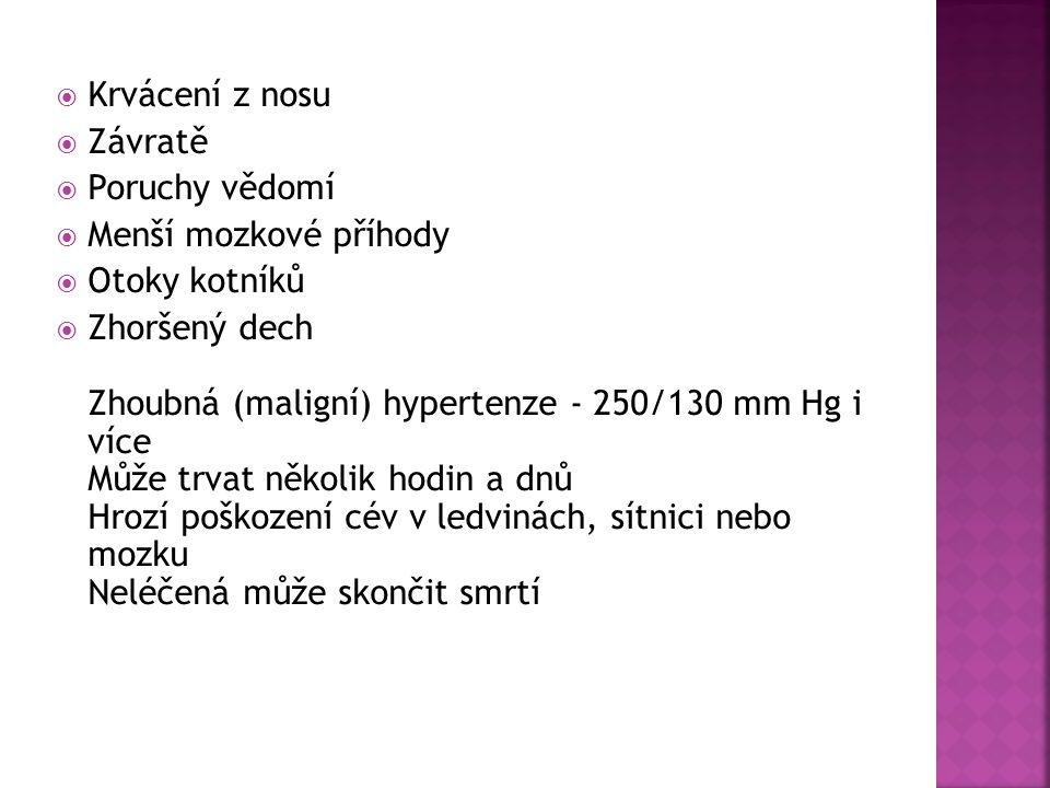 Krvácení z nosu  Závratě  Poruchy vědomí  Menší mozkové příhody  Otoky kotníků  Zhoršený dech Zhoubná (maligní) hypertenze - 250/130 mm Hg i ví