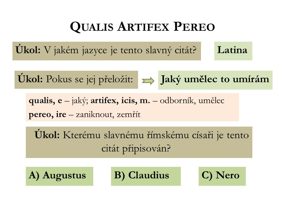 Q UALIS A RTIFEX P EREO Jaký umělec to umírám Úkol: V jakém jazyce je tento slavný citát Latina Úkol: Pokus se jej přeložit: Úkol: Kterému slavnému římskému císaři je tento citát připisován.
