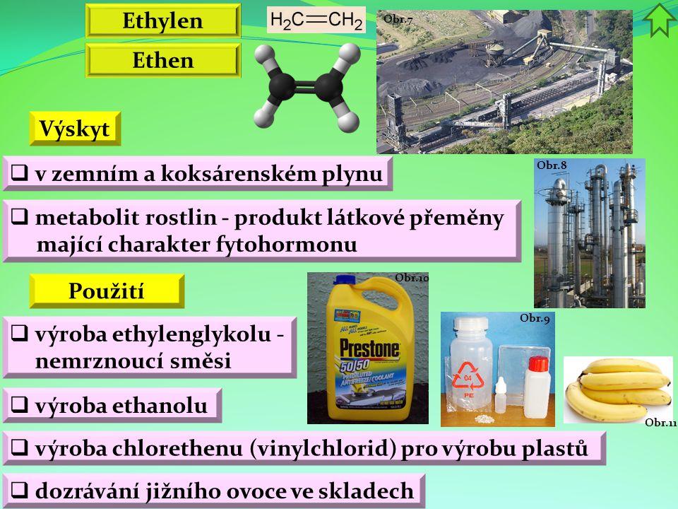 Obr.11 Obr.9 Obr.10 Obr.8 Obr.7 Ethylen Ethen  výroba ethylenglykolu - nemrznoucí směsi Výskyt  v zemním a koksárenském plynu  metabolit rostlin - produkt látkové přeměny mající charakter fytohormonu Použití  výroba ethanolu  výroba chlorethenu (vinylchlorid) pro výrobu plastů  dozrávání jižního ovoce ve skladech
