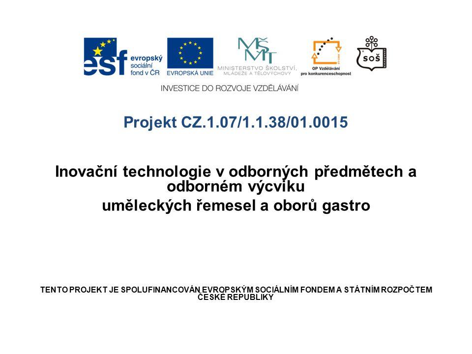 Projekt CZ.1.07/1.1.38/01.0015 Inovační technologie v odborných předmětech a odborném výcviku uměleckých řemesel a oborů gastro TENTO PROJEKT JE SPOLU