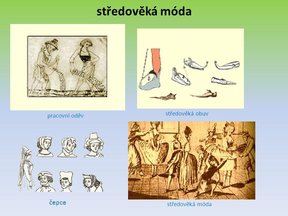 středověká móda pracovní oděv středověká obuv čepce středověká móda