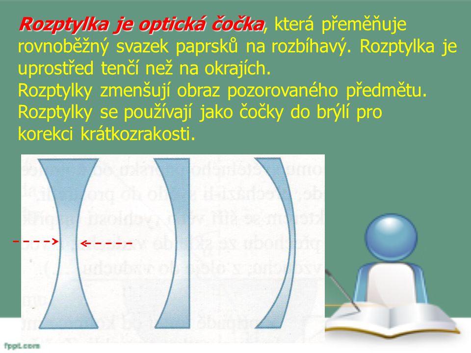 Rozptylka je optická čočka Rozptylka je optická čočka, která přeměňuje rovnoběžný svazek paprsků na rozbíhavý. Rozptylka je uprostřed tenčí než na okr
