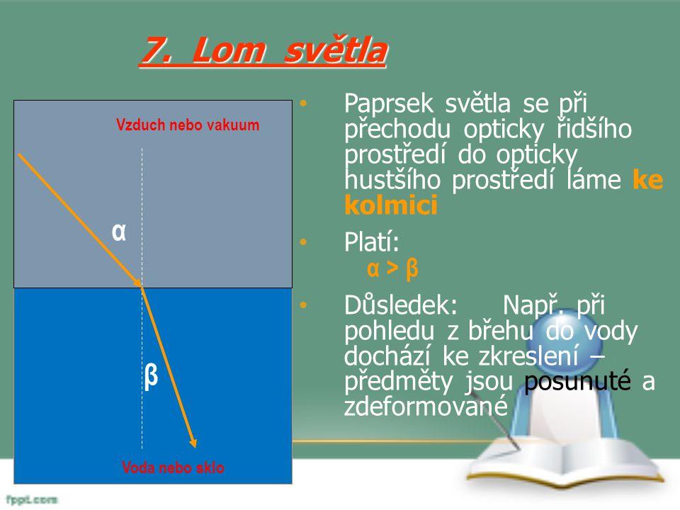 Paprsek světla se při přechodu opticky řidšího prostředí do opticky hustšího prostředí láme ke kolmici Platí: α > β Důsledek:Např. při pohledu z břehu