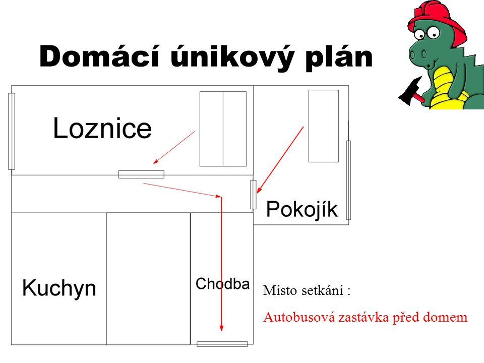 Domácí únikový plán Místo setkání : Autobusová zastávka před domem
