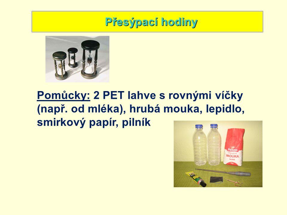 Postup: 1)Víčka lahví očisti a přilep k sobě.