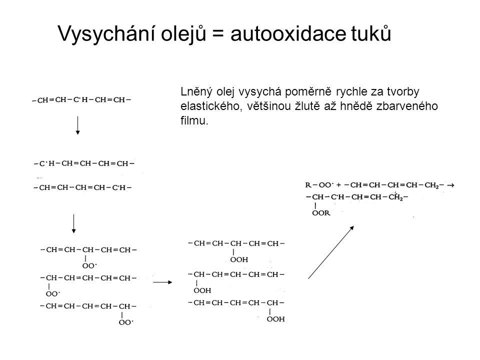 Vysychání olejů = autooxidace tuků Lněný olej vysychá poměrně rychle za tvorby elastického, většinou žlutě až hnědě zbarveného filmu.