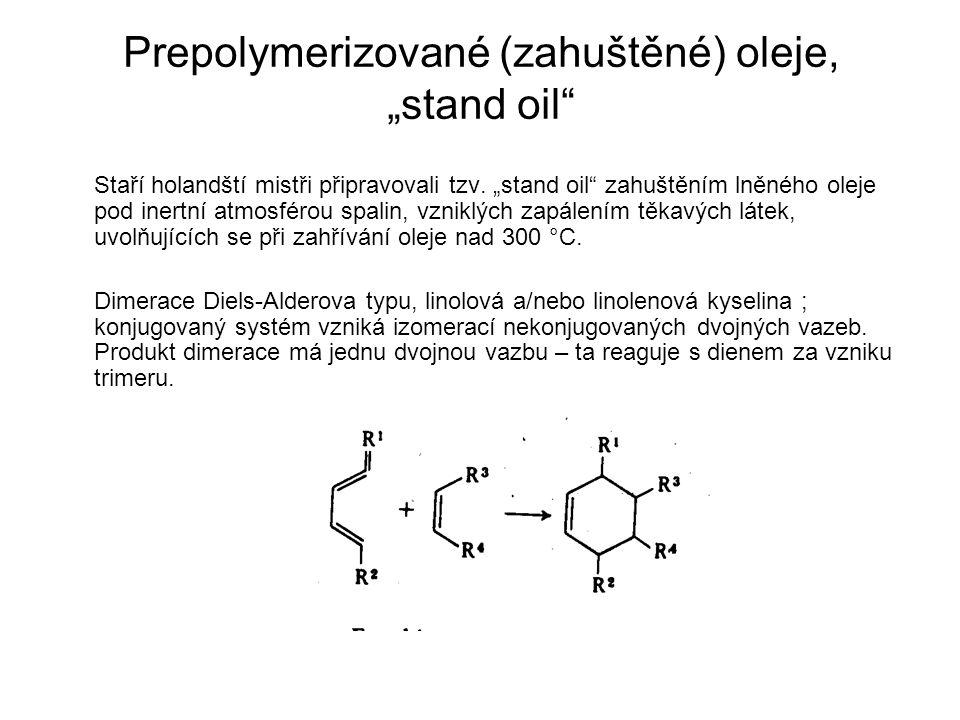 """Prepolymerizované (zahuštěné) oleje, """"stand oil"""" Staří holandští mistři připravovali tzv. """"stand oil"""" zahuštěním lněného oleje pod inertní atmosférou"""
