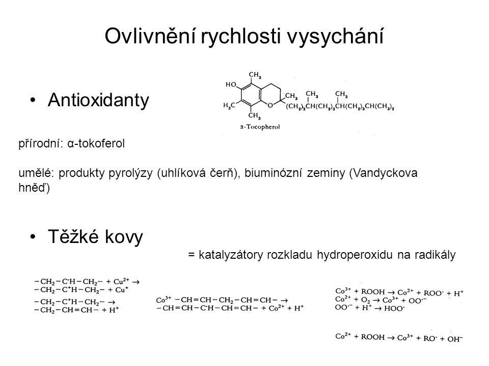 Ovlivnění rychlosti vysychání Antioxidanty Těžké kovy přírodní: α-tokoferol umělé: produkty pyrolýzy (uhlíková čerň), biuminózní zeminy (Vandyckova hn