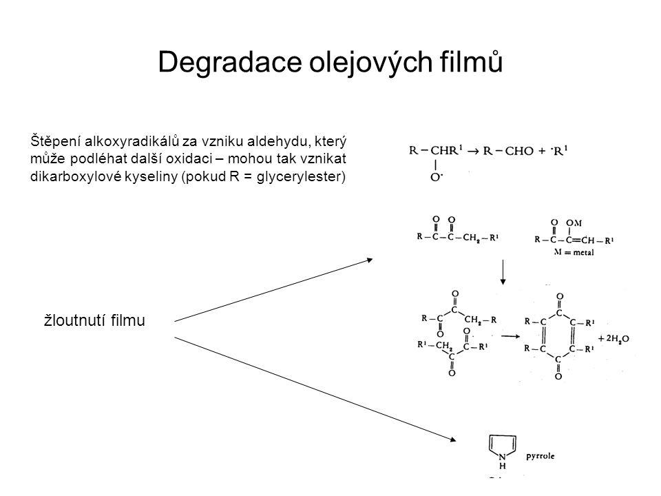 Štěpení alkoxyradikálů za vzniku aldehydu, který může podléhat další oxidaci – mohou tak vznikat dikarboxylové kyseliny (pokud R = glycerylester) žlou