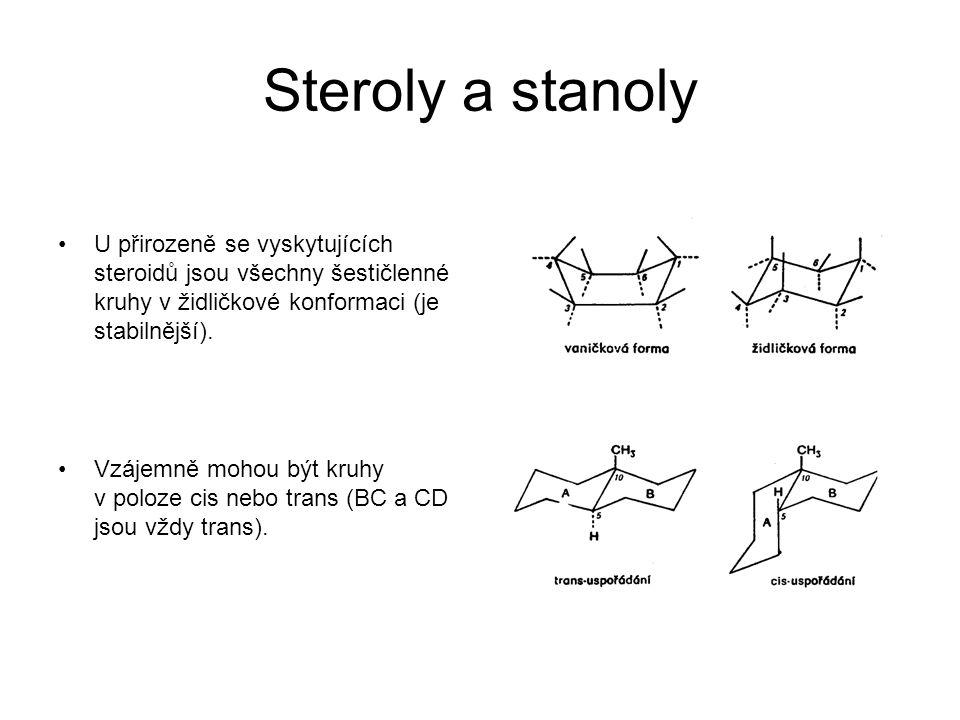 Steroly a stanoly U přirozeně se vyskytujících steroidů jsou všechny šestičlenné kruhy v židličkové konformaci (je stabilnější). Vzájemně mohou být kr